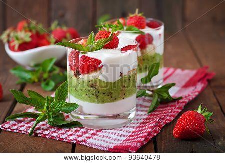 Creamy dessert with strawberries and kiwi