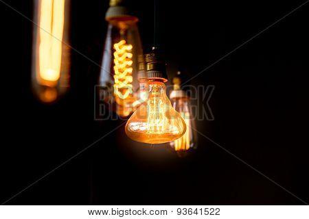 Hanged  Orange Decoration Light Bulbs Focus On Pear Shape  One  In The Dark  Room