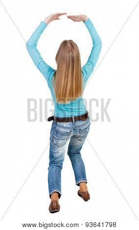 back view woman protects hands from what is falling from above. Man holding heavy load Rear view people collection. backside view person. Isolated over white background. Girl crouching closes her face