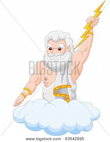 Cartoon zeus holding thunderbolt