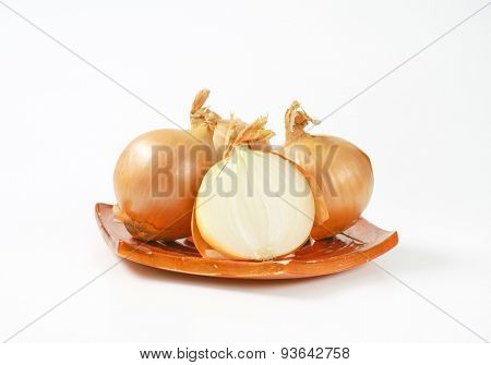 raw onions on small square plate