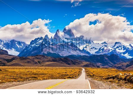 The road through desert. The highway crosses Patagonia and conducts to majestic Mountains Fitzroy