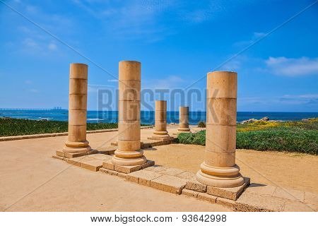 National Park Caesarea, Israel. Ancient columns from the Roman period on Mediterranean coast