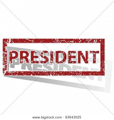 PRESIDENT outlined stamp