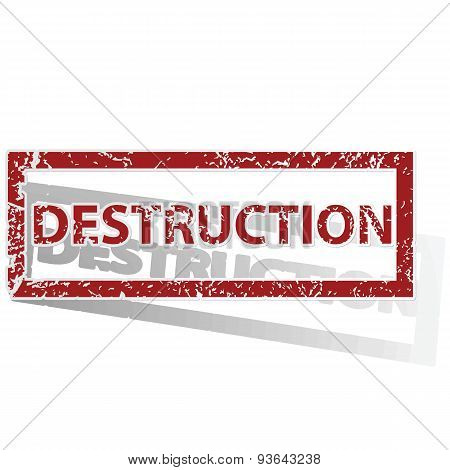DESTRUCTION outlined stamp