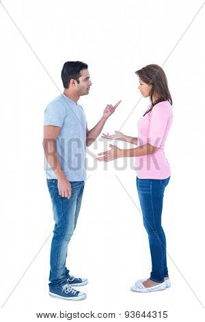 Couple having an argument on white background