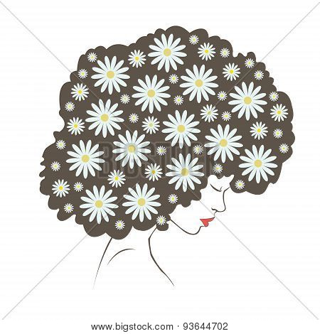abstract  tender flowers hair - Illustration
