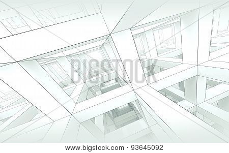 Abstract Blue Toned Architecture Background 3D