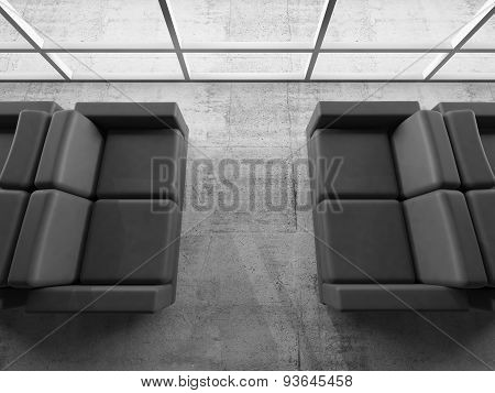 Abstract Interior, Office Room With Black Sofas