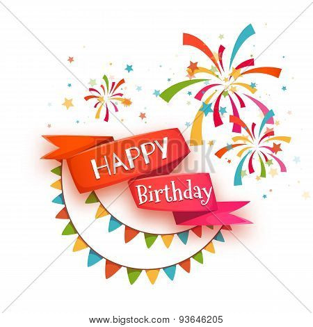 Red ribbon with Happy birthday title. Vector illustration
