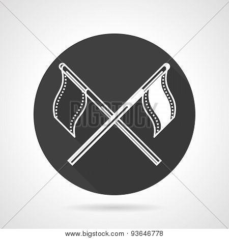 Team flags black round vector icon