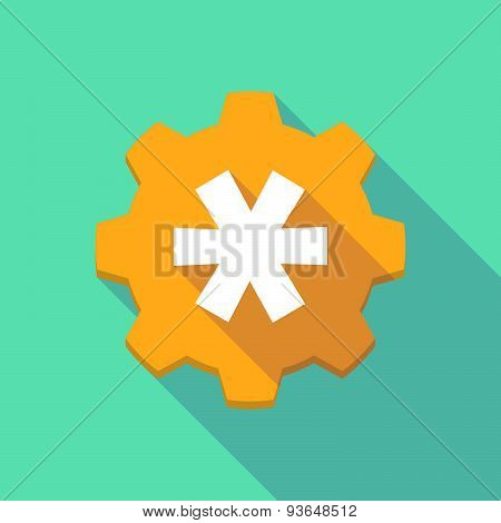 Long Shadow Gear Icon With An Asterisk