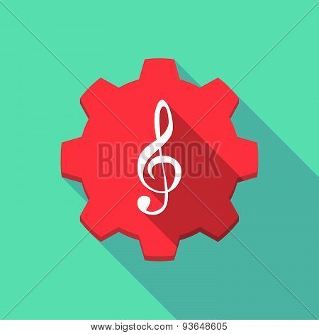 Long Shadow Gear Icon With A G Clef