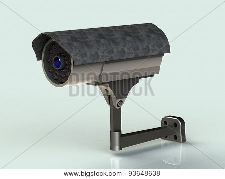 Surveillance Camera Mount In The Iron Casing Front View