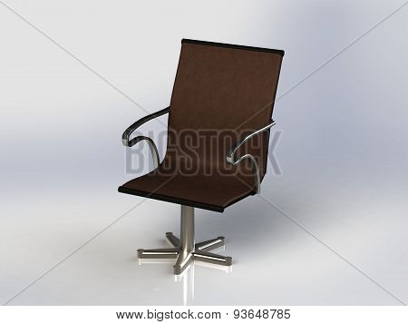 Chair With Iron Nickel-plated Legs And Back Leather Seat