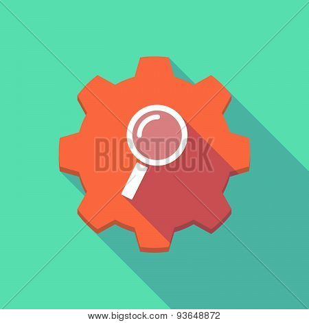 Long Shadow Gear Icon With A Magnifier