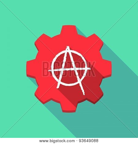 Long Shadow Gear Icon With An Anarchy Sign