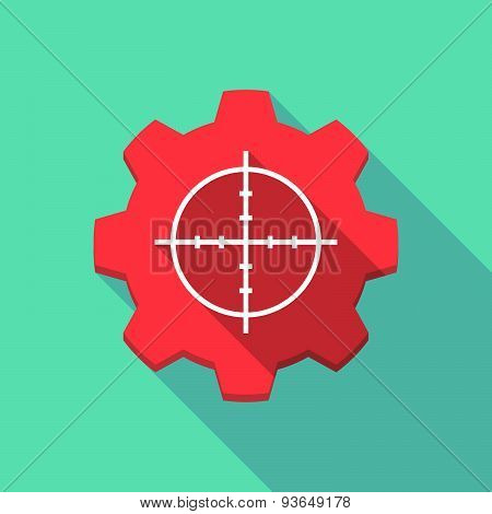 Long Shadow Gear Icon With A Crosshair