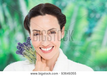 a woman with lavanda on a spa day