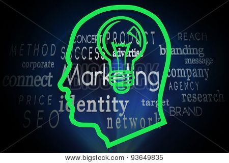 Light bulb in head against marketing words on black background