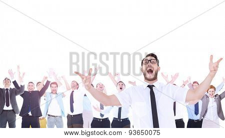 Composite image of geeky young businessman with arms in the air