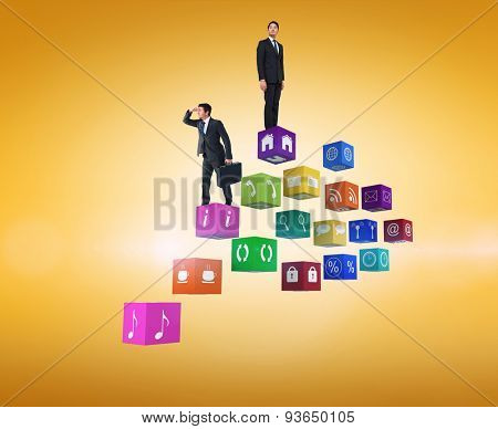 Businessman looking with his briefcase against yellow vignette
