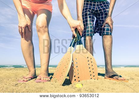 Best Friends Ready To Play Beach Tennis Game At Beginning Of Summer - Concept Of Multiracial Friends