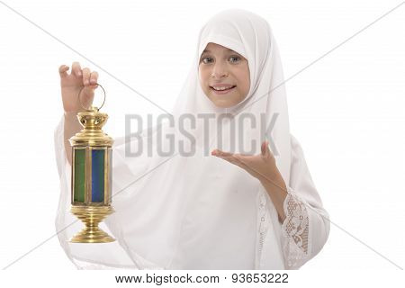 Happy Muslim Girl Celebrating Ramadan Holding A Traditional Festive Lantern