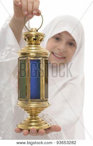 Ramadan Lantern In Hands Of Happy Muslim Girl