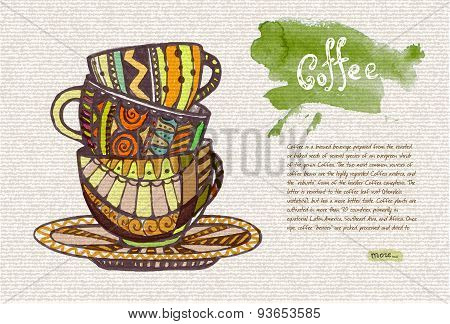 Decorative Sketch Of Cup Of Coffee