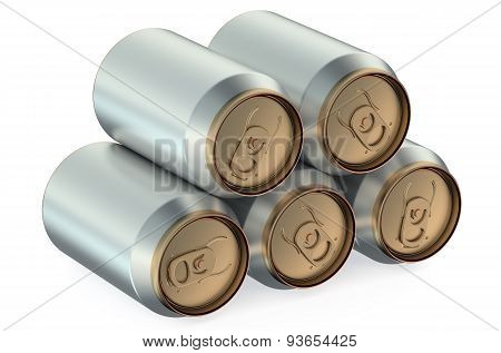 Set Of Drink Metallic Cans, Side View
