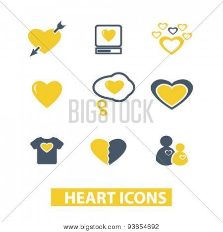 heart, love, relations icons, signs, illustrations set, vector