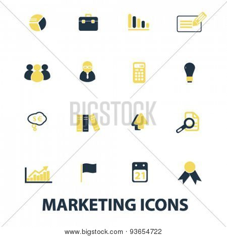 marketing, sales, retail icons, signs, illustrations set, vector