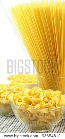 Raw Pasta In Bowls