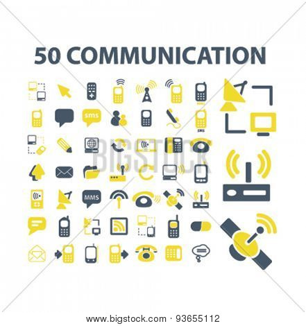 50 communication, connection, technology, mobile, network icons, signs, illustrations set, vector