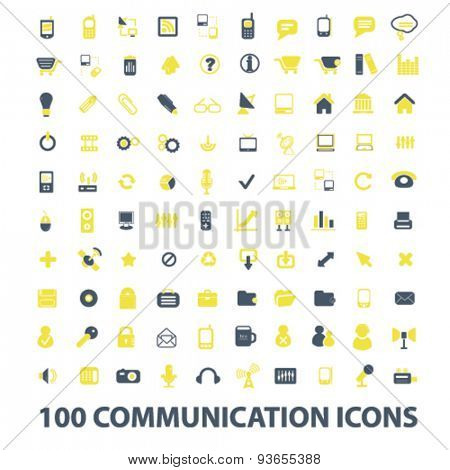 100 communication, connection, internet, mobile icons, signs, illustrations set, vector