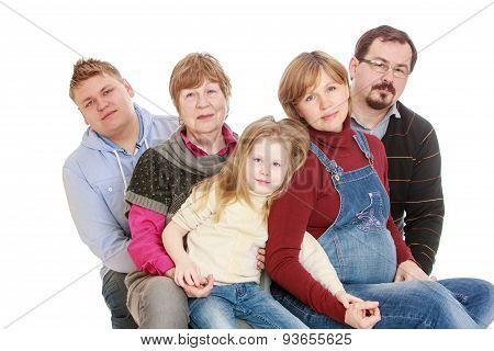 Big happy family of 5 people grandmother, a pregnant mother, fat