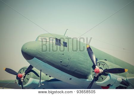 Closeup Part Retro Plane With Propellers