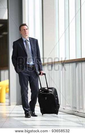 businessman walking with trolley, business travel concept