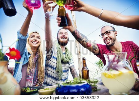 Beach Cheers Celebration Friendship Summer Fun Dinner Concept
