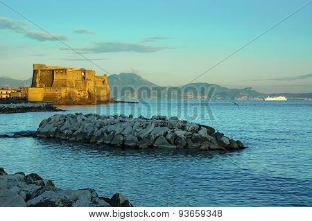 Naples,ferry,mountains,fortress,sea