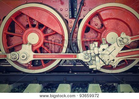 Wheels Closeup Vintage Locomotive Of Red Color