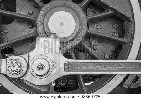 Wheel Of Black Color Closeup Old Locomotive