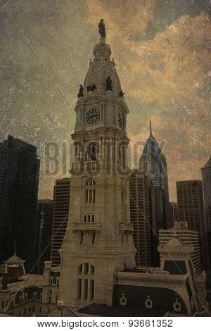 Vintage view of the historic City Hall bell tower in Philadelphia