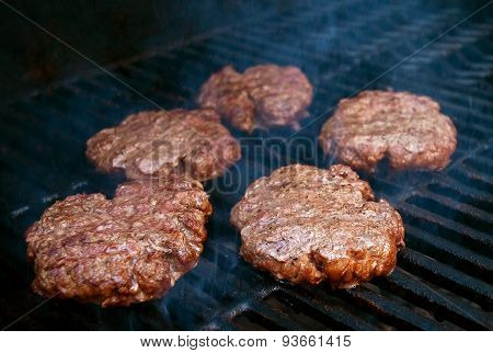 Barbeque Burgers On Grill