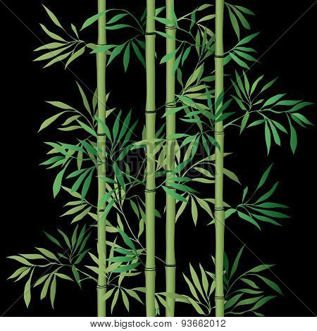 Bamboo leaf background. Floral seamless texture with leaves.