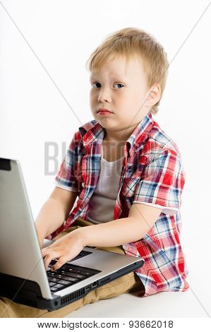 Child With A Laptop. Studio