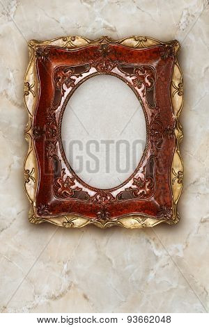Antique Picture Frame Handmade Ceramics Isolated On Marble Effect Background
