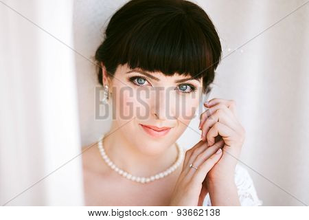 Close Up Portrait Of Beautiful Young Bride