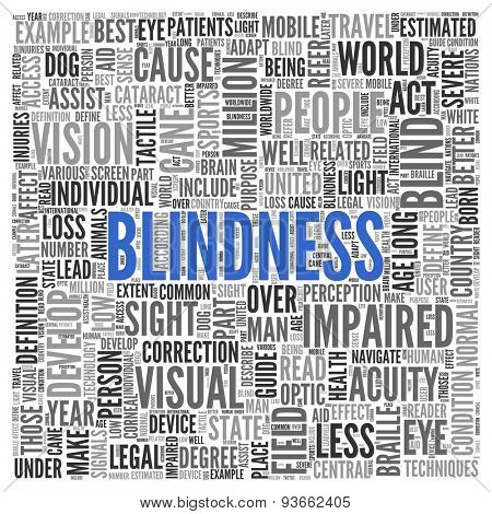 Close up BLINDNESS Text at the Center of Word Tag Cloud on White Background.